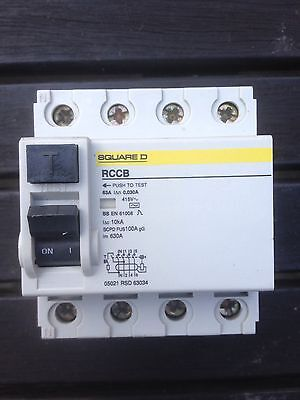 Square D 63 Amp 3 Phase 4 Pole RCCB RCD