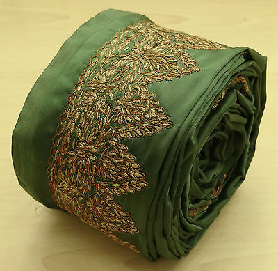 Vintage India Sari Border Embroidered Trim Sewing 1YD Green Sarong Ribbon Lace