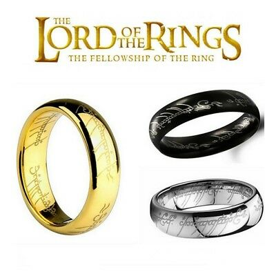 NEW Hobbit Lord of the Rings Gold Silver Black Elvish Rune Engraving Ring Band