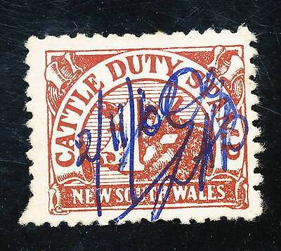 NSW 1/- CATTLE DUTY STAMP used