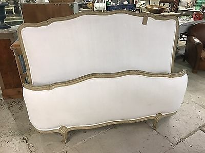 ANTIQUE FRENCH KING SIZE BED DEMI CORBEL Newly Upholstered