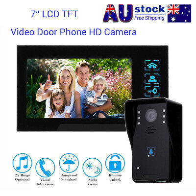 "7"" LCD Intercom Video Door Bell Phone Camera+Monitor For Home Office System AU"