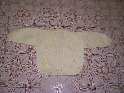 New Hand Knitted Baby Cardigan  Lemon  3 - 6  Months App