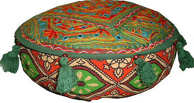 Indian Mirror Embroidery Work Green Ottoman Pouf Foot Rest Sofa Cushion Cover