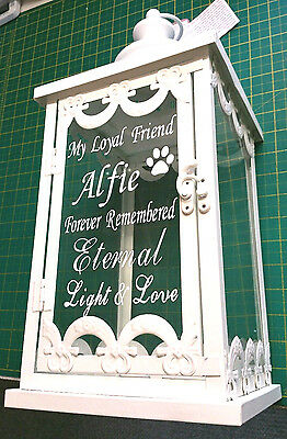 Beautiful Personalised Pet Dog Cat Memorial Sign Candle Lantern Grave Memorial