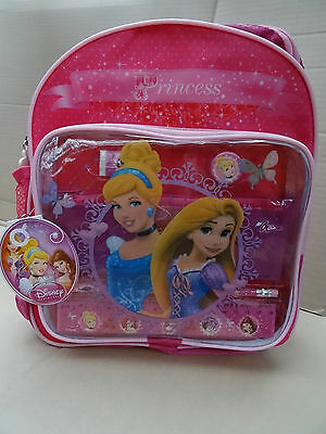 NEW DISNEY PRINCESS CHILDRENS BACK PACK SCHOOL BAG WITH STATIONERY SET Girl Gift