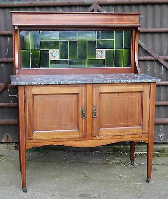 Quality Victorian Inlaid Mahogany Tiled Back Marble Topped Washstand Part Suite
