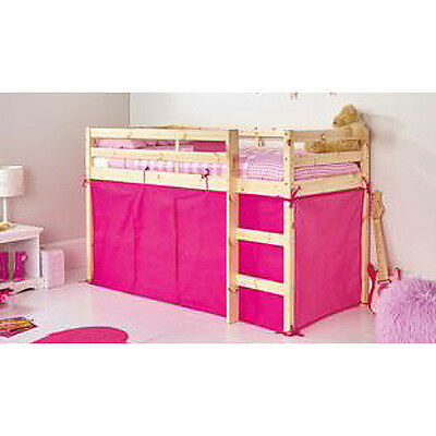 CHAD VALLEY Bright Pink Tent For Shorty Mid Sleeper Bed Pink Girls Bedroom Tidy