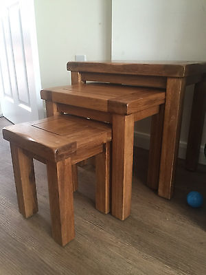 Solid Oak 3 Nesting tables in rustic colour
