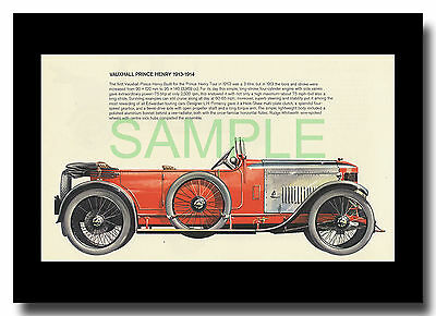 Vauxhall Prince Henry 1913 Pomeroy framed picture Pierre Dumont