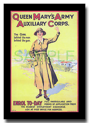 Women's Army Auxiliary Corps WAAC Queen Mary's WW1 framed poster reproduction