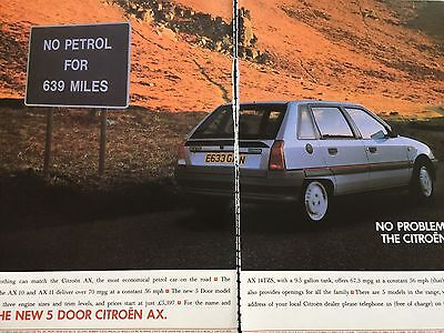"CITROEN AX 5-DOOR # ORIGINAL 1988 AUTOMOTIVE ADVERT # 12"" x 16"""