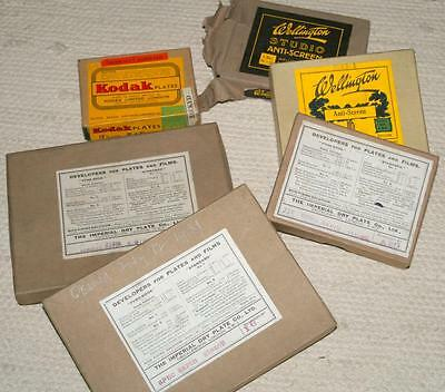 Collection of Unused Photographic Glass Dry Plates - 6 Boxes - Various - c1931