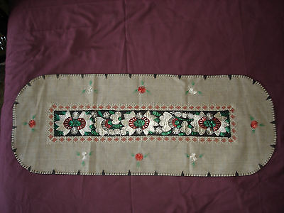 #071  Beautiful Vintage Hand-Embroidered Table Runner 39''/15''(100cm/39cm)