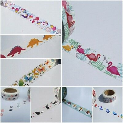 Animals, Birds, Fish, Insects Washi Masking Tape. Includes FREE UK P&P