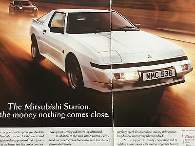 "MITSUBISHI STARION # ORIGINAL 1988 AUTOMOTIVE ADVERT # 12"" x 16"""