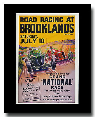 Brooklands Road Racing 1937 repro framed picture