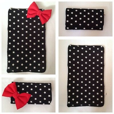 Baby Travel Changing Mat Black White Stars Cotton Water Proof Red Padded Bow New