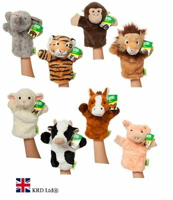 "10"" ANIMAL PUPPETS Hand Glove Wild Farm Puppet Soft Plush Kids Baby Toy + SOUNDS"