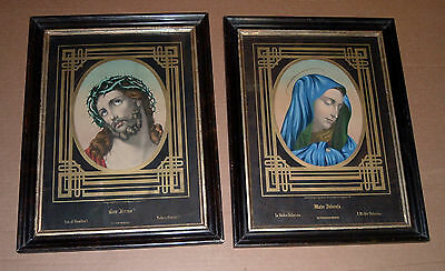 2 Antique Prints In Frames CRUCIFIED JESUS AND MARY GERMAN 1800's Gold Matting