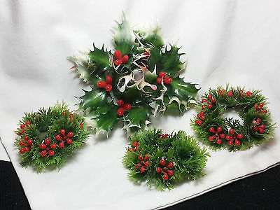 Vtg Lot 4 Holly Berry Mistletoe Artificial Plastic Christmas Candle Ring Deco