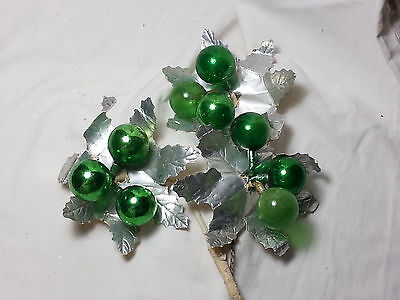 Vintage Japan Easter Green Holly Silver Leaf Mercury Ball Corsage Pick Craft
