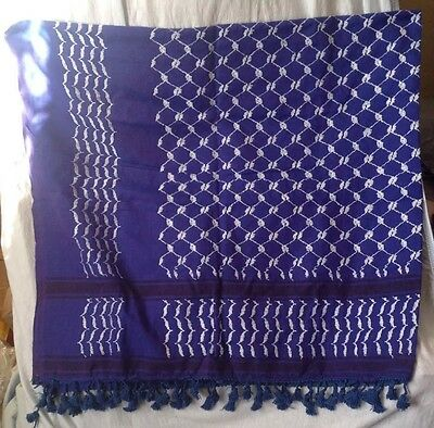 Authentic Palestinian Original Blue Hirbawi Keffieh Kufiyah Shemagh Scarf
