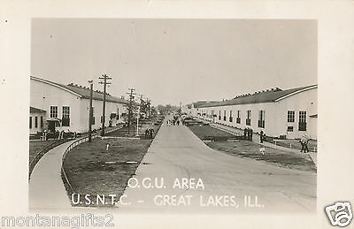 1940s WWII RPPC US Navy Training Center, Great Lakes, IL, OCU Area