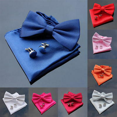New Premium Satin Plain Solid Men's Pre-tied Bow Tie and Pocket Square Hanky Set