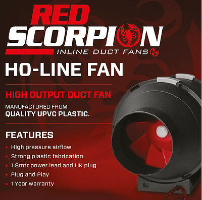 "Red Scorpion HO Inline Grow Room Fan 125mm 5"" Extractor Ventilation Hydroponics"