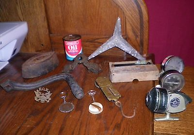 Vintage Antique Junk Drawer Lot Collectibles Medal Army Reel Handle Gauge