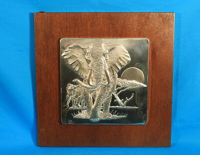 "1970's Franklin Mint Sterling Silver Art ""Lords of the Serengeti"" The Elephant"