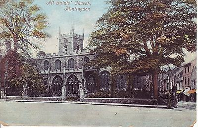 HUNTINGDON, All Saint's Church & Street with shops. 1904 Very early Valentine's