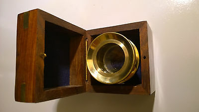 Small brass inlaid wooden box. With Chart magnifier by Past-Times