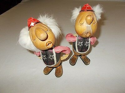 Rare vintage handcrafted wood Ges Gesch Swiss Rustic Design yodeler figurines
