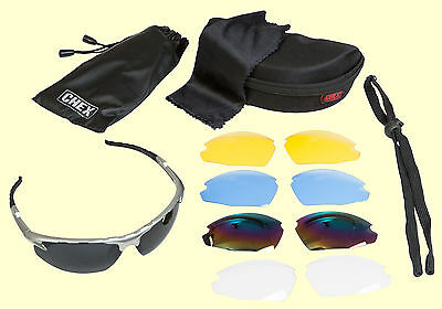 CHEX Ace Cricket Sunglasses Sportsglasses 5 Lens Sets Inc Tinted Yellow & Clear