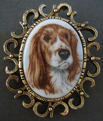 Vintage Spotted Irish Red White Setter Dog Ceramic Large Fancy Cameo Pin Brooch
