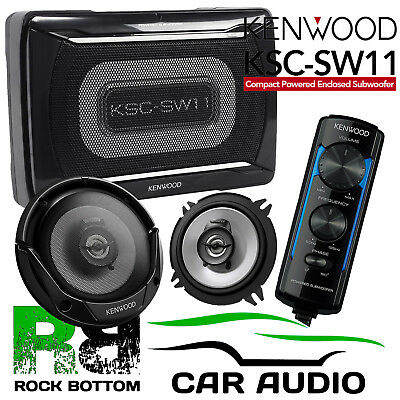 Smart Roadster 03-05 Kenwood Amplified UnderSeat Sub Box & Door Car Speaker Kit