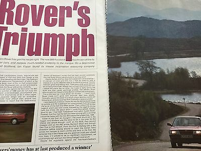 Rover 800 Fastback # 800 Series # Original 1988 Automotive Article # 8 Pages