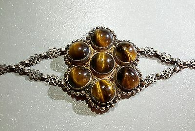 Antique Art Deco Sterling Chinese Silver Tiger Eye Bracelet