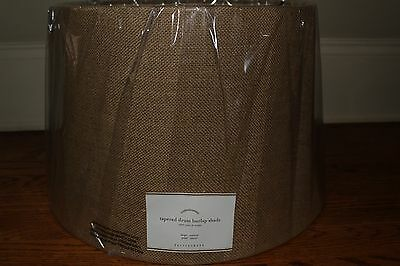 NWT Pottery Barn Burlap Upholstered tapered drum lamp shade large natural