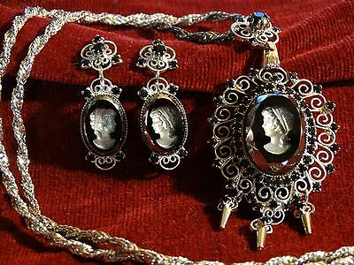 Stunning Black Rhinestone Silver Intaglio Cameo Necklace & Clip on Earrings Set