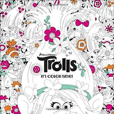 Trolls Adult Coloring Book It's Color Time DreamWorks Movie 2016 Paperback New