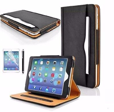 Genuine BLACK&TAN Stand Smart Magnetic Leather Case Cover For Samsung Tab E T560