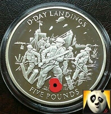 2004 Gibraltar £5 Five Pound D-Day Landings Wwii Silver Proof Poppy Coin