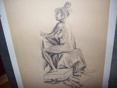 """Original Fine Art Pencil Drawing On Paper Seated Nude 14 x 17"""" Unsigned"""