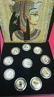 2010 EGYPT £1 One Pound Treasure of the Pharaohs Enamelled Coin Collection Set