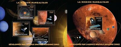 CA14520ab Central Africa 2014 The mission Mangalyaan MNH SET