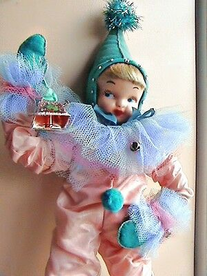 vintage Christmas elf pixie doll, soft coral & turquoise, 1940's, 22""