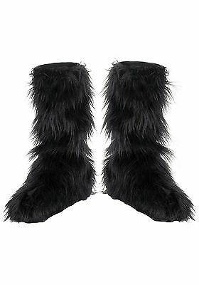 Black Furry Boot Covers ( One Size ) 14483